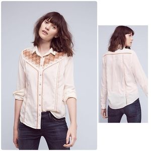 NWOT Embroidered Buttondown Anthropologie
